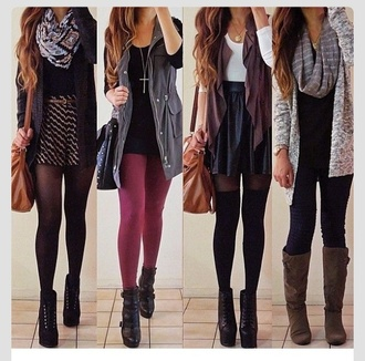 jewels fall fall outfits fall fashion black burgundy grey tights scarf dress skirt leather skater skirt socks lita heels vest shorts cardigan bag coat shirt
