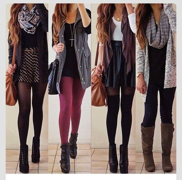 vest leather black dress jewels fall fall outfits fall fashion burgundy grey tights scarf skirt skater skirt socks lita high heels shorts cardigan