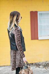 dress,black vest,tumblr,animal print,leopard print,mini dress,printed dress,long sleeves,long sleeve dress,bag,brown bag,vest,leather vest,ombre hair