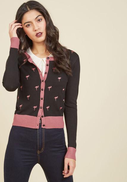 CBN354 cardigan sweater black cardigan cardigan embroidered flamingo black pink