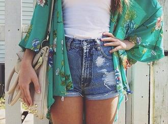 shorts denim cuffed ripped high waisted cardigan