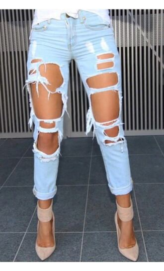 jeans blue light blue blue jeans light blue jeans ripped jeans heels high heels light blue boyfriend jeans