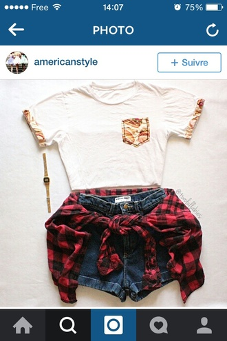 shirt watch t-shirt style blouse blogger fashion instagram tumblr outfit tumblr shirt shorts flannel shirt summer top spring white t-shirt pocket t-shirt food jewels cardigan