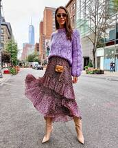 skirt,midi skirt,wrap ruffle skirt,floral skirt,high waisted skirt,high heels boots,crossbody bag,mini bag,knitted sweater,sunglasses
