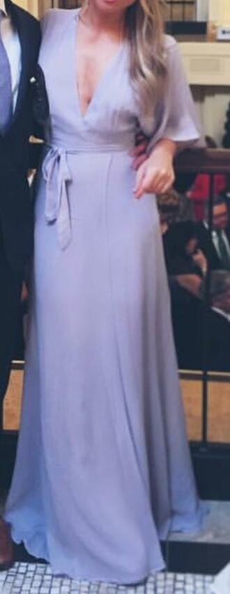 dress periwinkle maxi flutter sleeve tie waste formal elegant plunge neckline