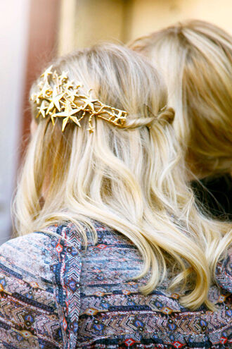 hair accessory tiara gold headband party stars wedding hairstyles urban outfitters