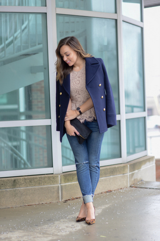 sharingmysole blogger coat top bag jewels jeans shoes blue coat clutch lace top high heel pumps skinny jeans