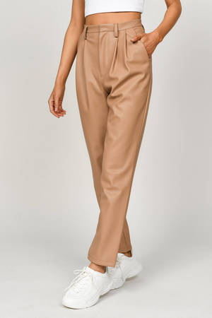 Lize Faux Leather High Waist Pleated Trouser