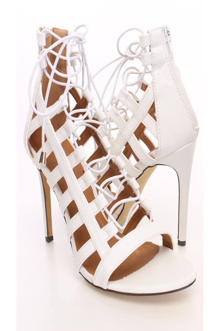 White Lace Up Open Toe Heels Faux Leather