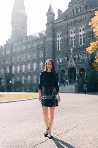 thecollegeprepster blogger skirt sweater shoes jewels