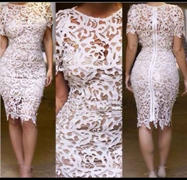 dress white laser cut out lace dress