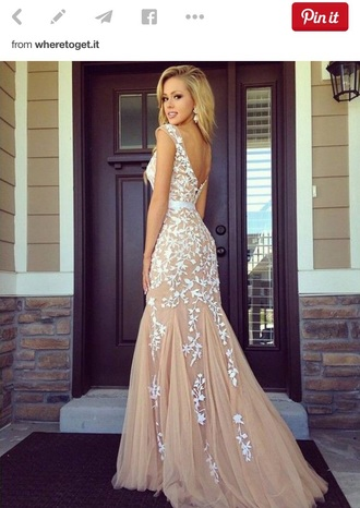 dress nude dress champagne prom dress floral dress prom dress prom gown prom dresses lace dress