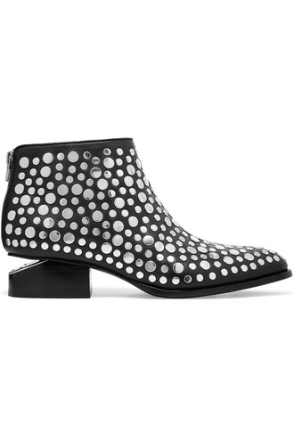 leather ankle boots studded boots ankle boots leather silver black shoes