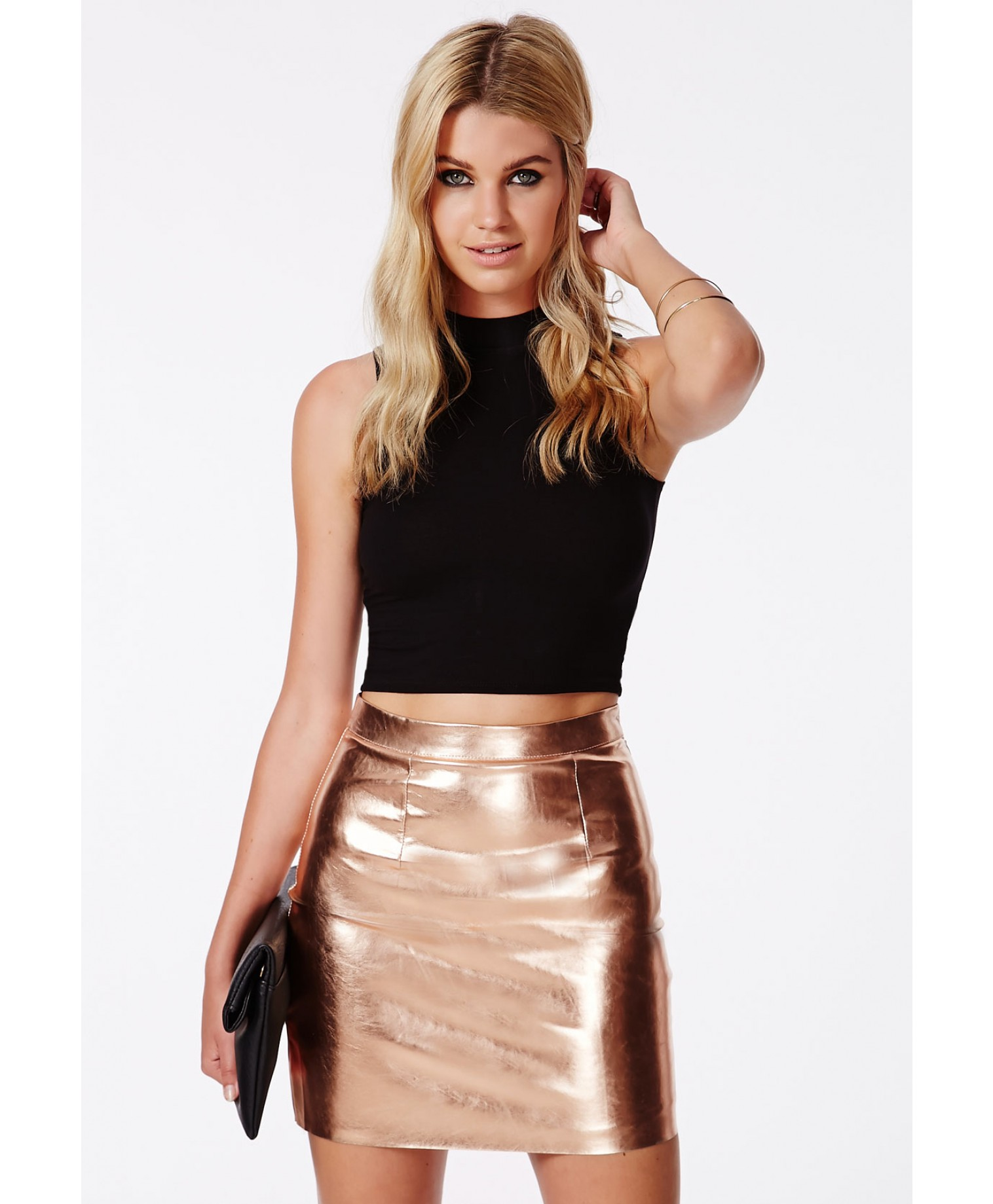 Sergia rose gold metallic mini skirt