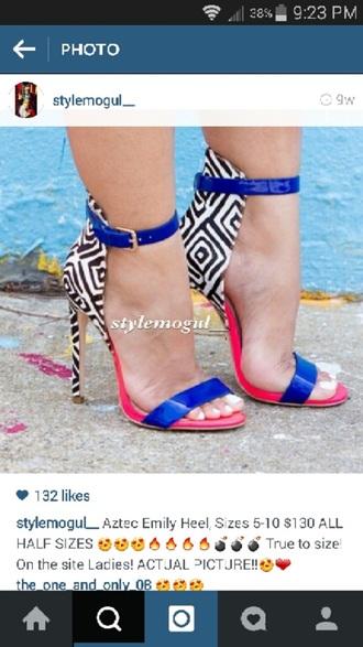shoes royal blue pink zebra