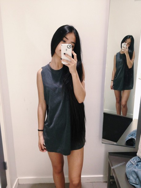 Dress black t shirt dress black dress black tumblr for T shirt dress outfit tumblr