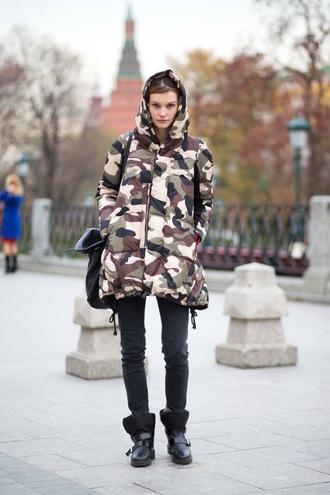 coat winter jacket fashion camo jacket