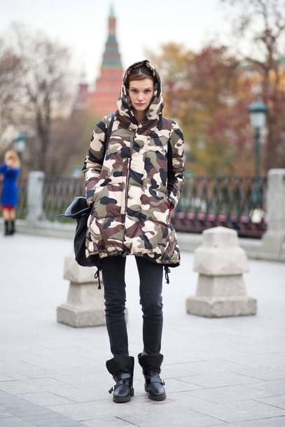 coat winter outfits jacket fashion camo jacket