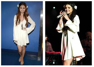 dress hippie chic cream dreamcatcher summer outfits hippie floral headband floral headband white dress selena gomez boho