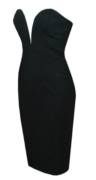 strapless black dresses plunge v neck