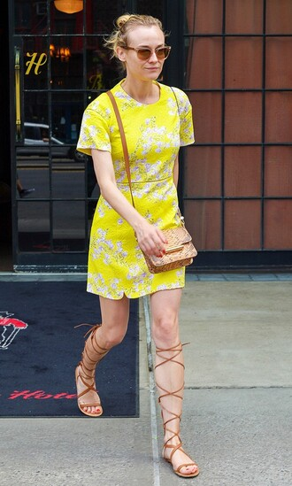 shoes white and yellow dress sunglasses brown gladiators beige handbag blogger