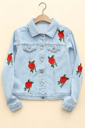 jacket,denim,roses,floral,blue,red,jeans,cool,summer,spring,embroidered,long sleeves,beautifulhalo