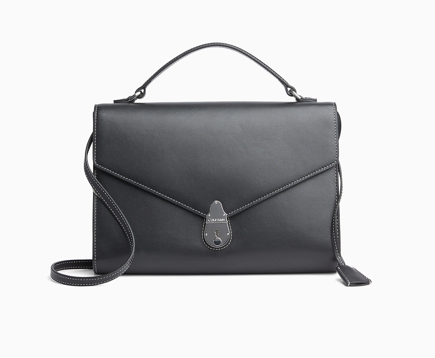 Leather Lock Crossbody Bag