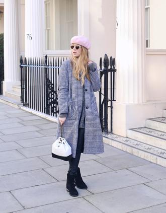 coat hat tumblr grey coat plaid plaid coat beret boots black boots bag white bag sunglasses
