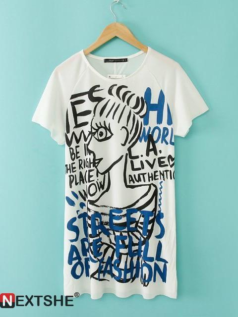 White english words beauty girl graffiti print t