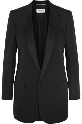 blazer black wool satin jacket
