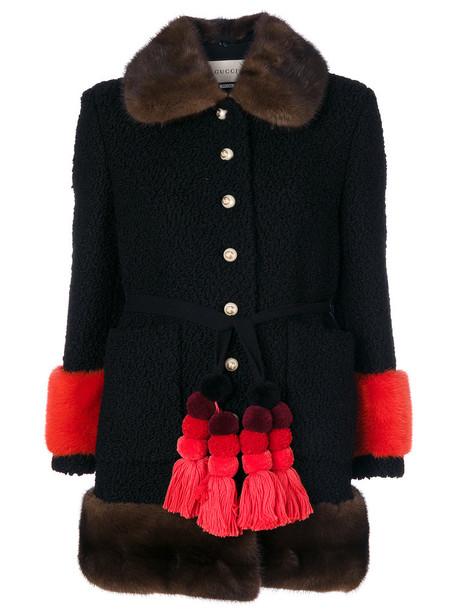 gucci coat fur women black silk wool