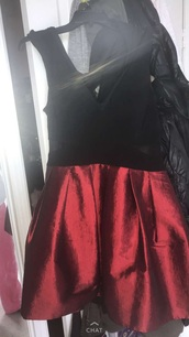 dress,black and red dress,silk from the bottom cotton from throw,see through from the side
