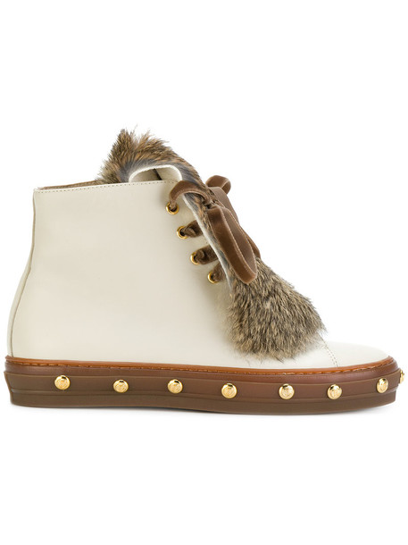 Baldinini fur boots studded fur women boots leather nude shoes