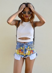 shorts,tank top,top,clothes,white,the simpsons,bart simpson,High waisted shorts