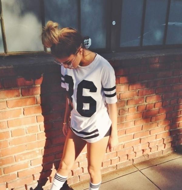 shirt jersey white black cute style