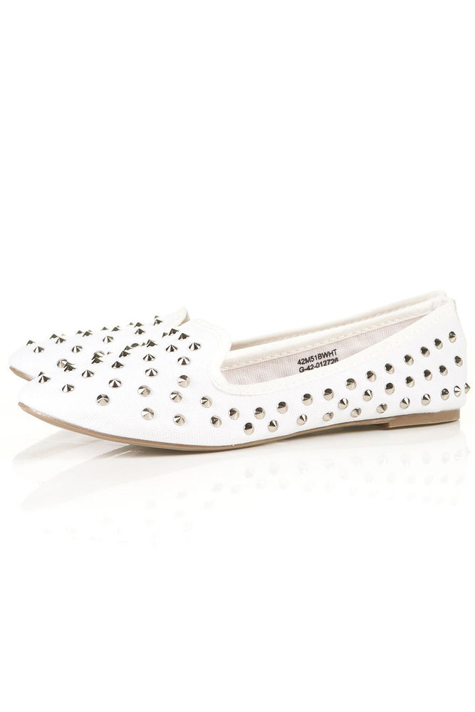 Topshop White Flat Loafer VECTRA 4 BNWT UK 8 9 Studded Silver Spike Slipper | eBay