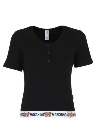 t-shirt shirt cotton t-shirt bear cotton black top