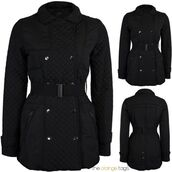 coat,diamonds,belted,button,jacket,top,military style,black,casual,quilted