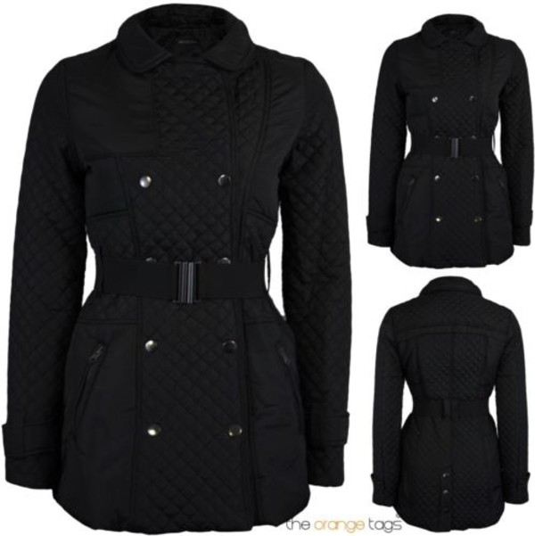 coat diamonds belted button jacket top military style black casual quilted