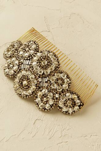 hair accessory gold metallic floral