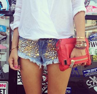 shorts blogger studs denim gold summer celebrity white blouse shirt red bag
