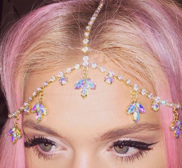 jewels leafs gold headpiece clear multicolor head jewels jewelry bling headband hippie headband