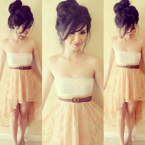 dress beige dress brown belt tank top lace dress