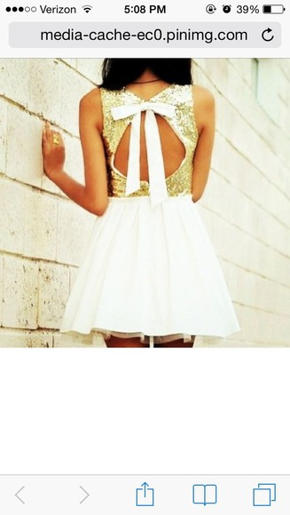 dress white short gold sparkles glitter cutout bow