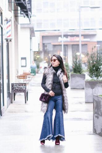 labellemel blogger jacket shoes bag faux fur vest winter outfits flare pants crossbody bag