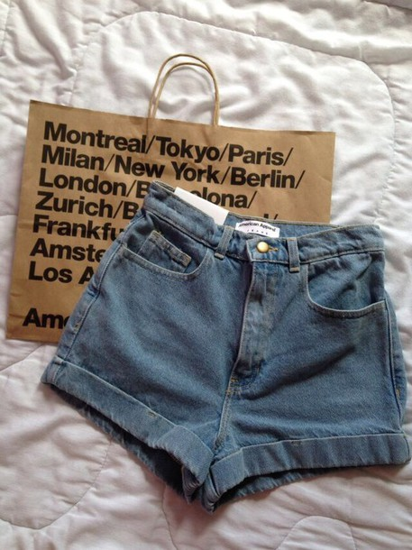 shorts jeans denim shorts american apparel blue shorts fashion style summer shorts High waisted shorts hipster shorts denim girl idea