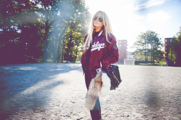 jacket streetstyle burgundy college jacket baseball