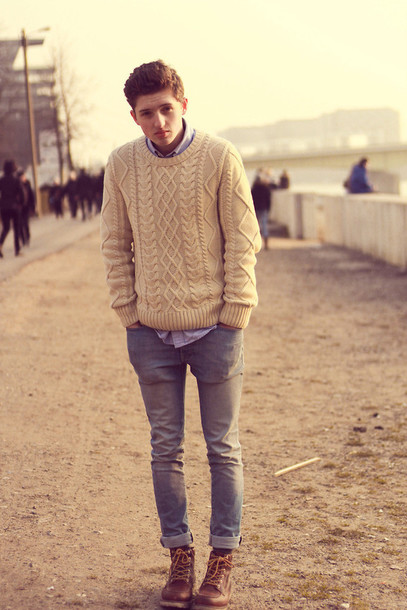 Sweater Knitted Sweater Mens Cable Knit Jumper Off White Wheretoget