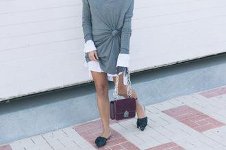 bag tumblr burgundy dress mini dress grey dress shoes black shoes slide shoes bow shoes long sleeves sweater dress