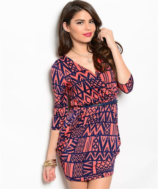 dress coral aztec abstract blue vneck dress half sleeves